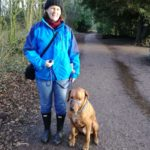 Grania and Ilo walking around the mere at Ellesmere